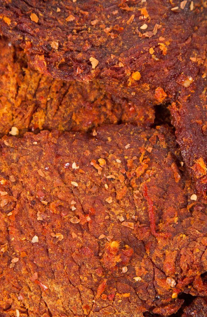 Satay Beef Jerky:  INGREDIENTS Beef, Sugar, Glucose, Salt, Onion Powder, Paprika, Spices, Ground Chili, Garlic Powder, Paprika Extract, Turmeric, Natural Flavour, Sodium Nitrite.