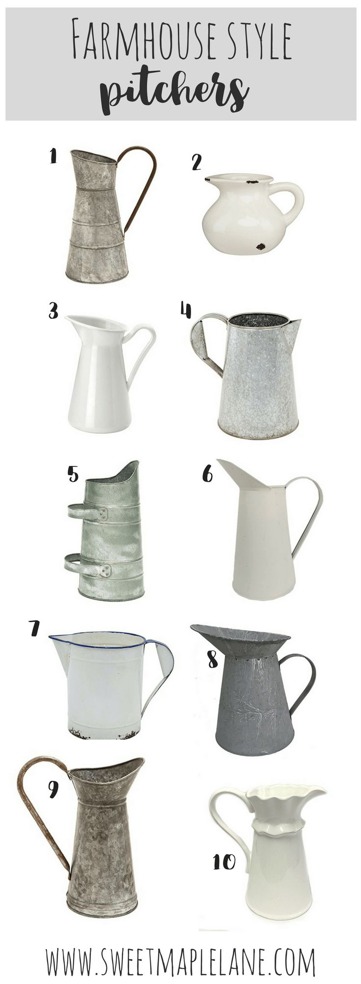 Rustic farmhouse style pitchers to add some farmhouse style to your decor