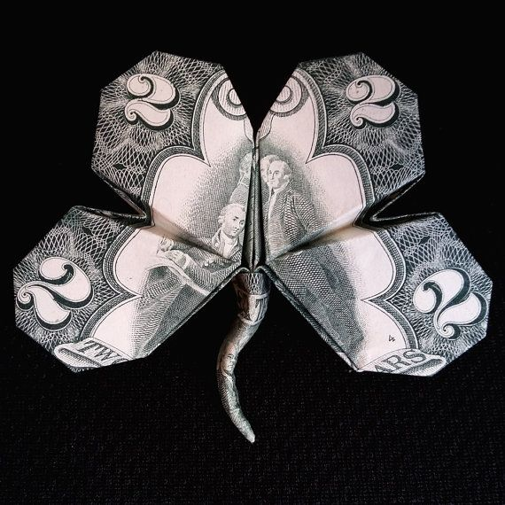 Origami LUCKY Four Leaf #CLOVER 3D Art Gift Money #Shamrock Handmade out of Real Two Dollar Bill St. Patrick's Day Gift