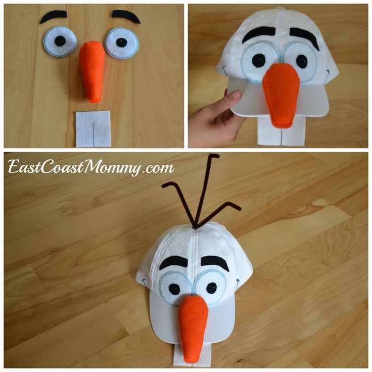 Olaf Hat craft - attached everything to the hat with hot glue. Finally, I cut a small slit in the top of the hat, pulled through a couple of pipe cleaners, and secured them in place with some hot glue. Read more at http://eastcoastmommyblog.blogspot.com/2014/09/diy-olaf-costume.html