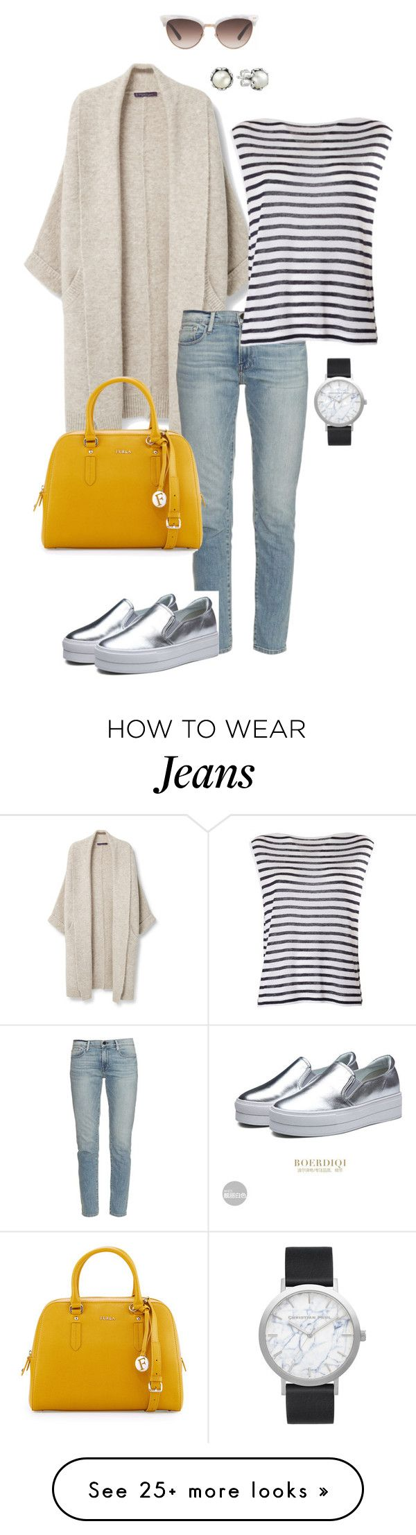 """""""beige cardigan"""" by ulusia-1 on Polyvore featuring Violeta by Mango, Frame Denim, Furla, Gucci, Elwood, Pandora and T By Alexander Wang"""