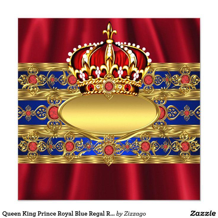 Królowa Król Książę Royal Blue Regal Red Korona 2 karty   Zazzle