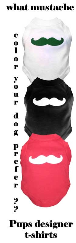 Mustache dog t-shirt! With fuzzy wool felt mustache appliqué that stands out nicely against the soft cotton sleeveless shirt.