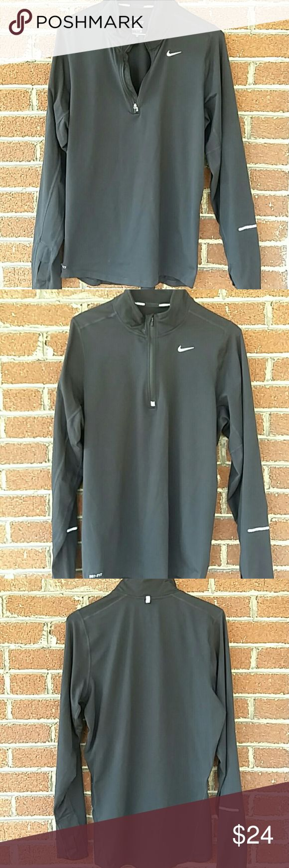 Men's Nike Pullover shirt Men's Black Nike Pullover Shirt . Size small zipper from chest to neck. 88% polyester 12% spandex. In excellent condition. Nike Jackets & Coats Lightweight & Shirt Jackets