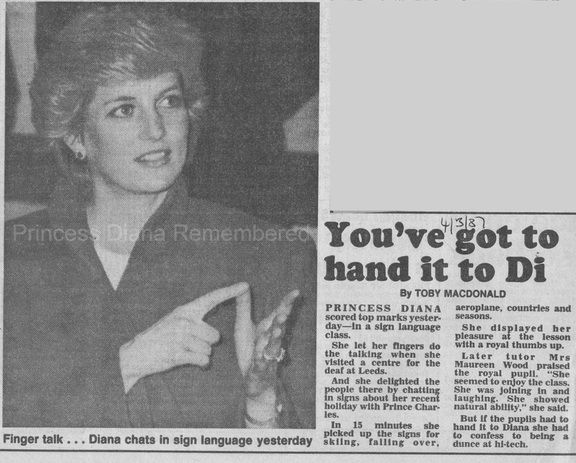Memories Of Diana - Visiting Leeds Society For The Deaf & Blind And Bradford College Fashion Workshop - March 4th 1987