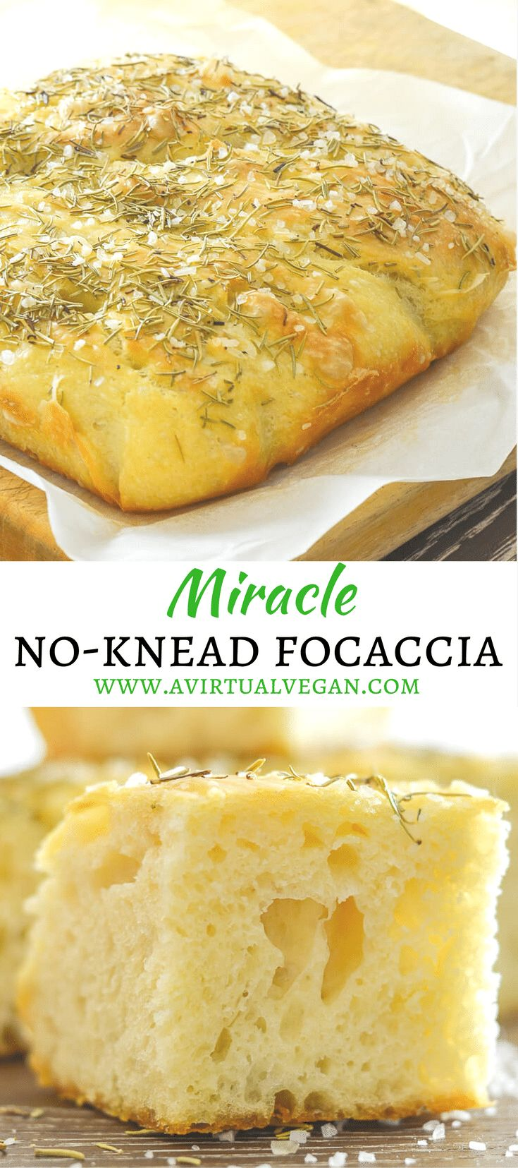 Wait! What? Focaccia you don't need to knead? Yes! This No Knead Focaccia with Rosemary & Sea Salt is virtually fool proof. As long as you are able to stir some ingredients together in a bowl & turn on the oven you can do it. And nothing, and I mean nothing, can beat the smell & taste of fresh bread straight from the oven! ♡ via @avirtualvegan