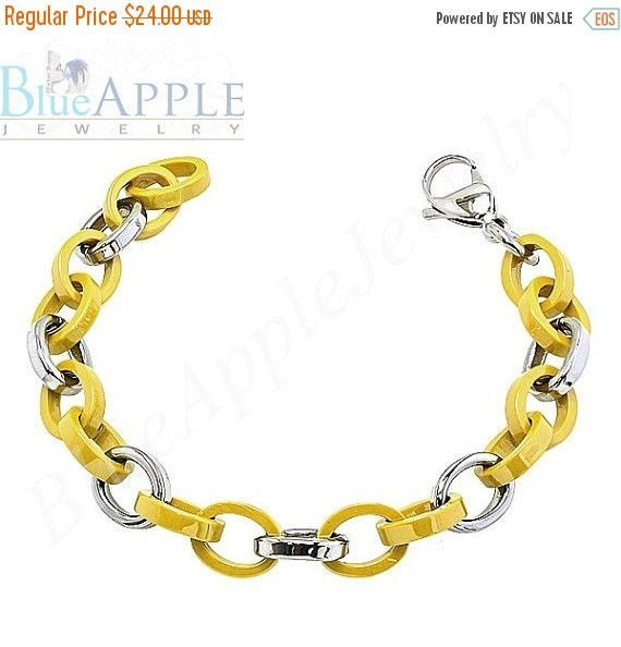 Mustard Yellow Ceramic & 316L Stainless Steel Rolo Link Bracelet In Design Men's Bracelet Fashion Gift for Him,Boyfriend Husband