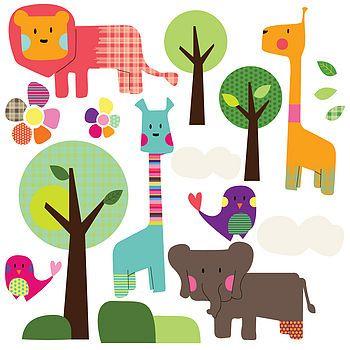 A super cute safari animals wall sticker set. Ideal for a baby's nursery #babyrooms