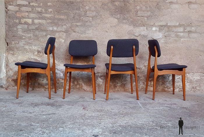 Chaises en vintage gris anthracite scandinavesboistissu KJF1cl