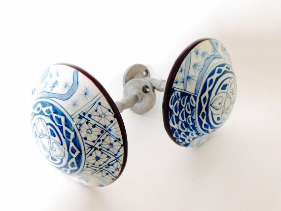 Vintage Curtain Tiebacks, Two (2) Classic Blue and White Porcelain Medallion Drapery Holdbacks - Curtain Wall Holders