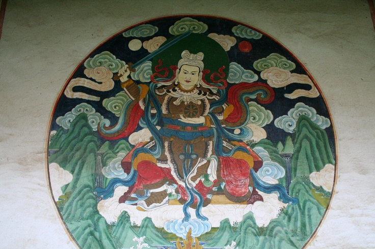 This is a headdress, a type of art. This artwork of Songsten Gampo,  first king and unifier of Tibet. These are dharma protectors.