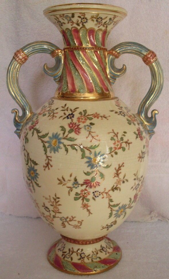 ANTIQUE FISCHER Porcelain Hand Painted Vase