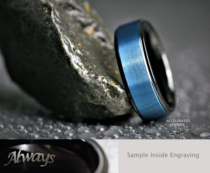 8MM Mens Black/Blue Satin Tungsten Wedding, Engagement, Anniversary Ring, Custom Laser Engraved Inside by AcceleratedJewelry on Etsy https://www.etsy.com/au/listing/495928666/8mm-mens-blackblue-satin-tungsten