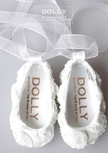 DOLLY by Le Petit Tom ® BABY BALLERINA'S 19B WHITE ROSES SATIN + Organza Ribbon.