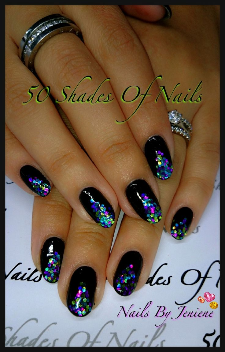 Bio Sculpture Gel | nail art | glitter | sparkle | tree | black