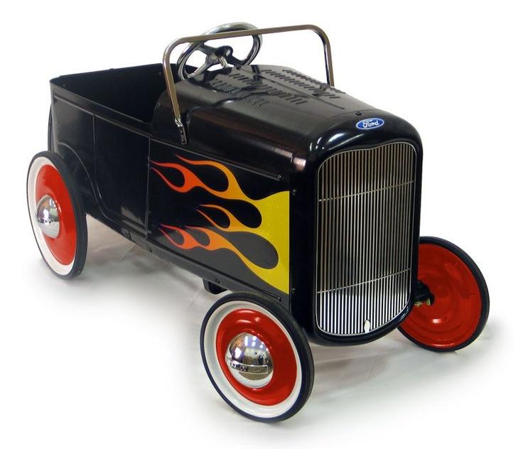 1932 black flamed roadster pedal car toy