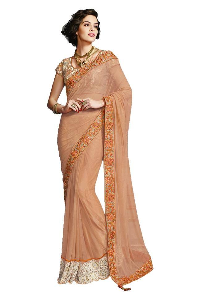Higglerr Multi-coloured chiffon embroidered saree
