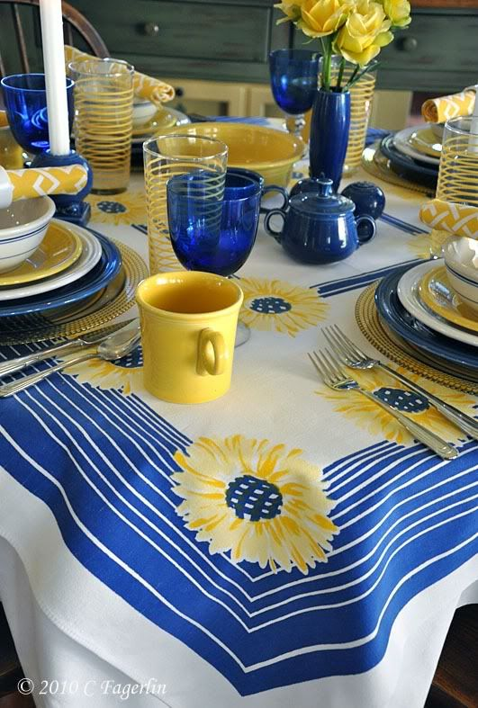 Fiesta® Dinnerware Tablescape in Sunflower, White and Cobalt   The Little Round Table