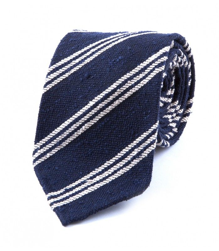 Navy Woven Shantung  Triple Stripe Tie