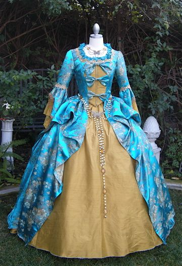 Turquoise/Gold Fantasy Marie Antoinette Gown/Costume-Sold
