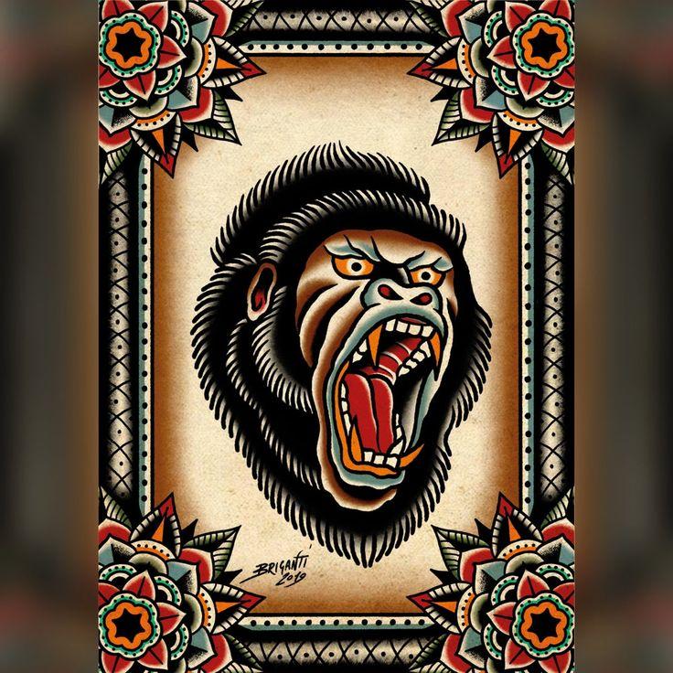 New gorilla print traditional tattoo gorilla old