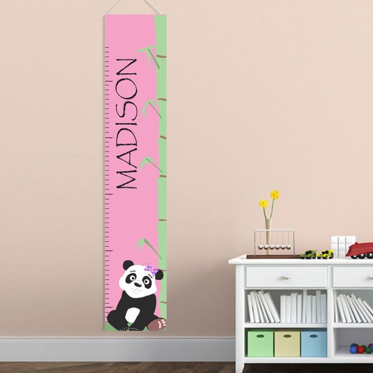 Personalized Girls Growth Chart - Kids Height Chart - Child Growth Chart for Girls - Panda Design by WizkickGifts on Etsy https://www.etsy.com/listing/495219561/personalized-girls-growth-chart-kids