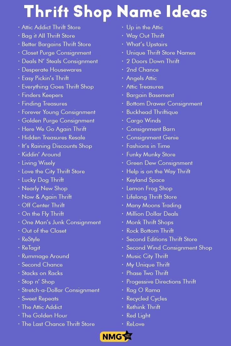 Resale Store Name Ideas Thrift Shop Name Generator Kartu Nama Bisnis Nama Rencana Kehidupan