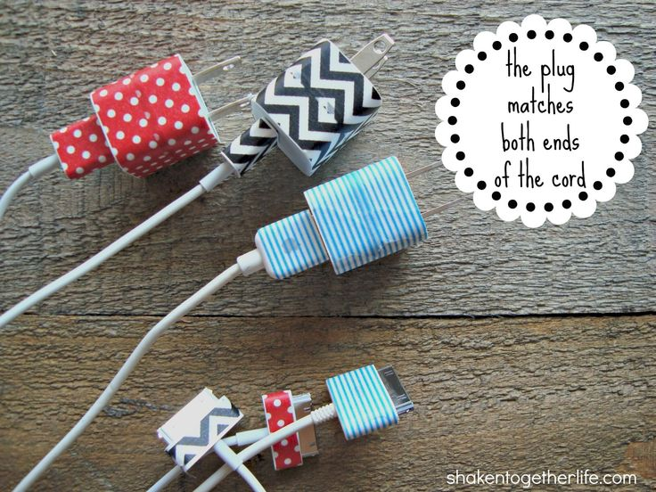 Organize phone chargers with washi tape