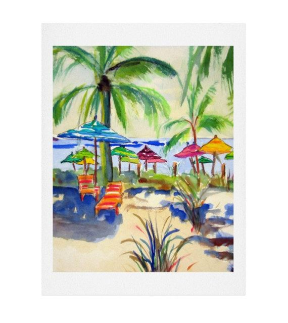 A colorful coastal art print for your sea-inspired space. Caribbean Time Watercolor Print