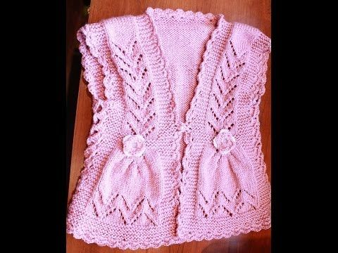 How to Knit Integrated Vandyke Lace Vest with flowers on the front and crochet edging One piece, My