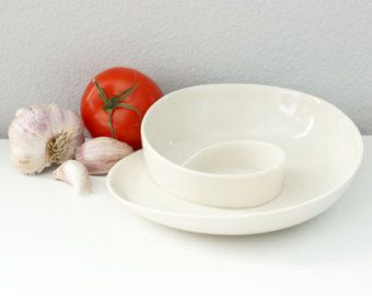 Porcelain Serving Dish Whirl Serving Dish White by kimwestad