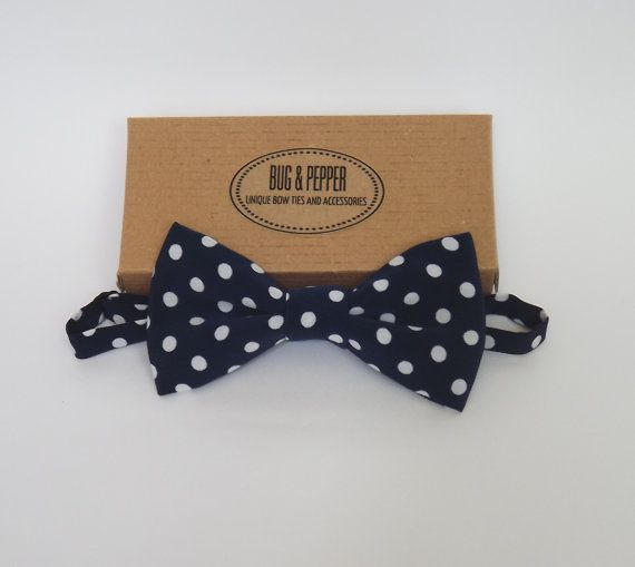 Navy Blue Polka Dot Pre Tied Bow Tie by BugAndPepper on Etsy, $25.00
