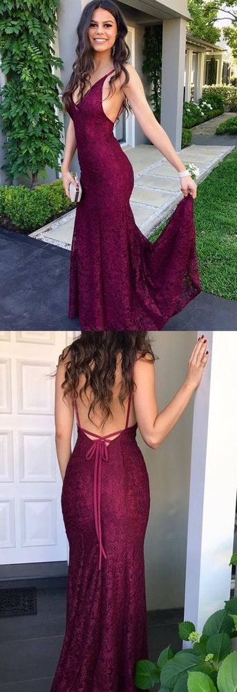 Burgundy Lace Prom Dresses, Mermaid Backless Party Dress, V-neck Evening Dress