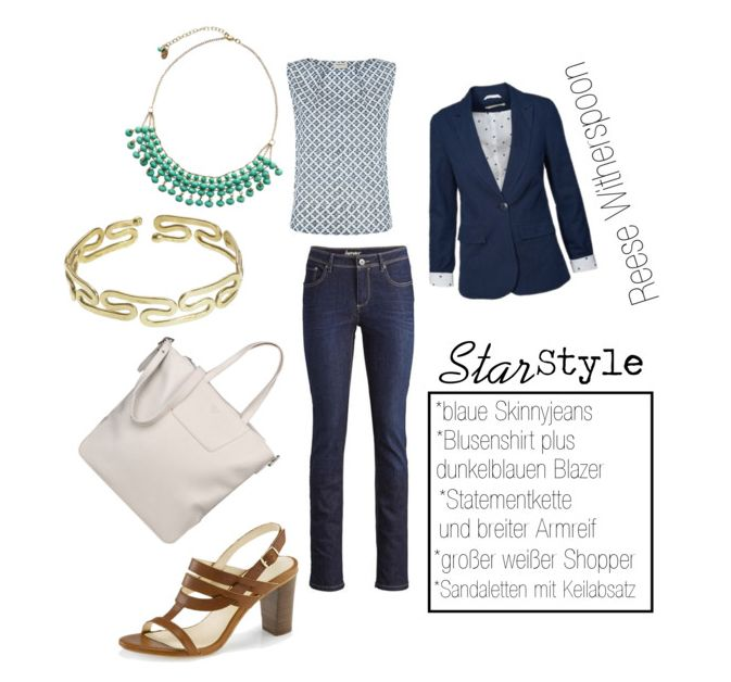 Star Style Reese Witherspoon / Preppy Outfit / Fair Fashion Kleidungsstücke (Blue Jeans, Top, Blazer, Kette, Armband, Sandalen und weiße Tasche)