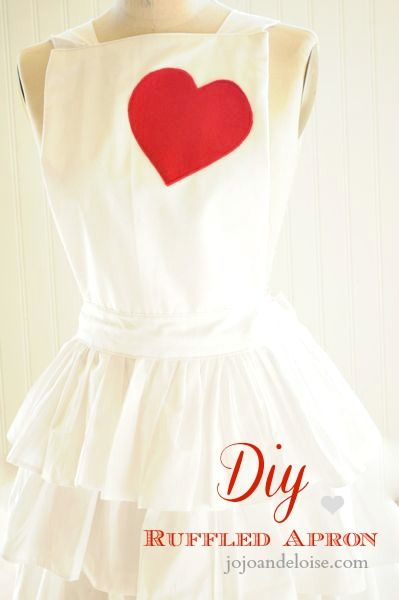 DiY ruffled apron with a heart