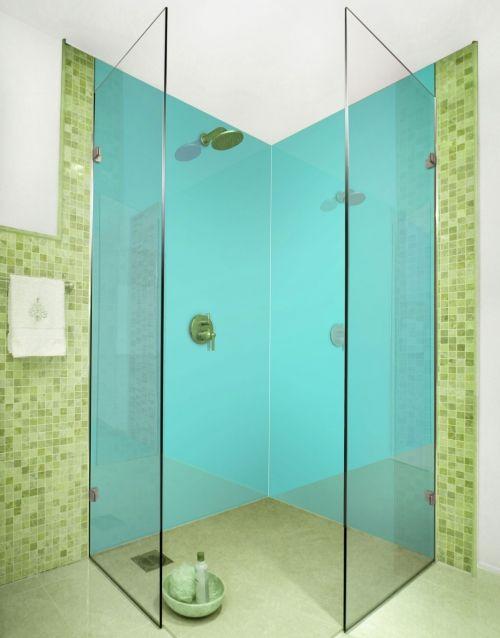Aqua, aquamarine coloured acrylic shower wall panels