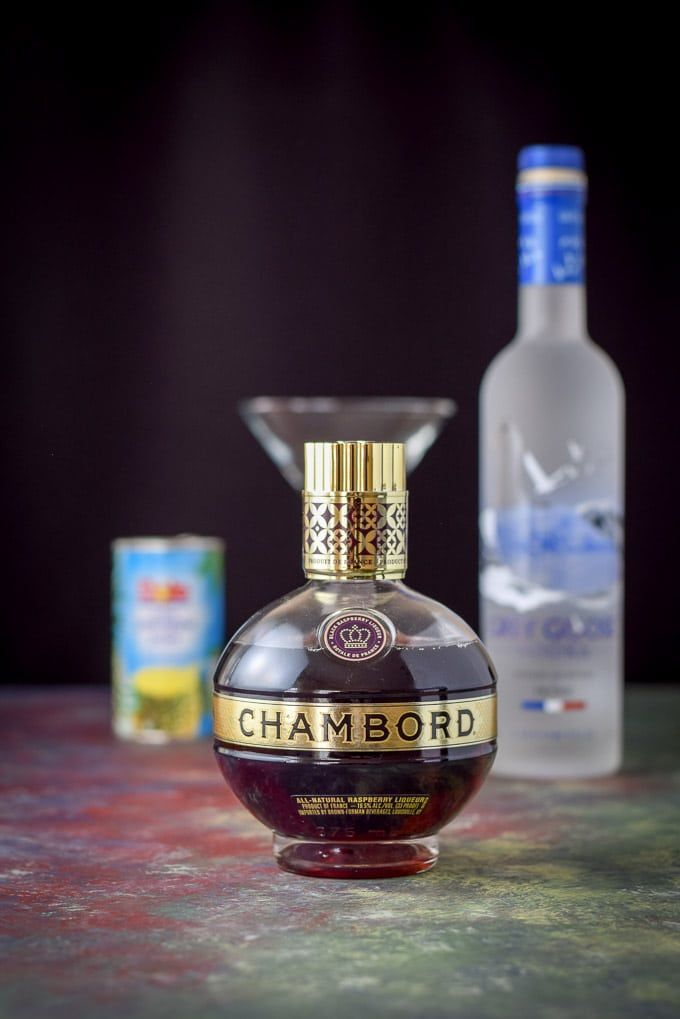Chambord, vodka and pineapple juice for the can-can dancer French martini cocktail