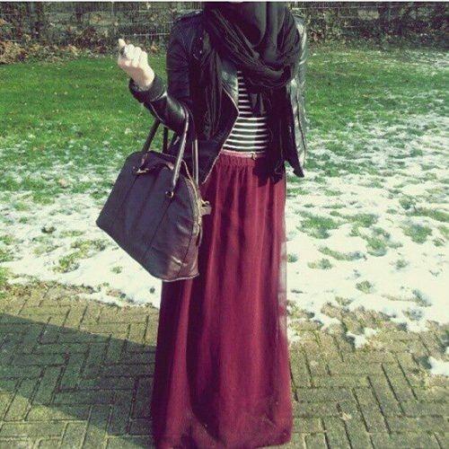 Maroon maxi skirt, stripe top or white top, black leather jacket, black scarf