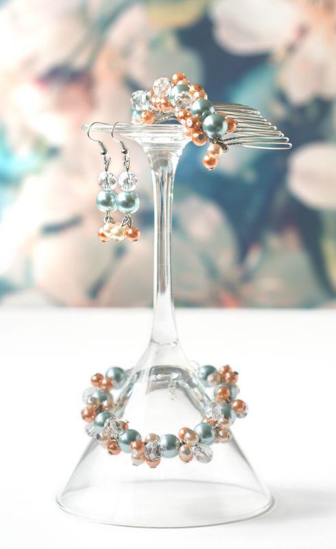 bruidssieraden set wedding bridal jewelry bridal Koraal & Turquoise Pearl Love Coral & Aqua Mint €50 $57