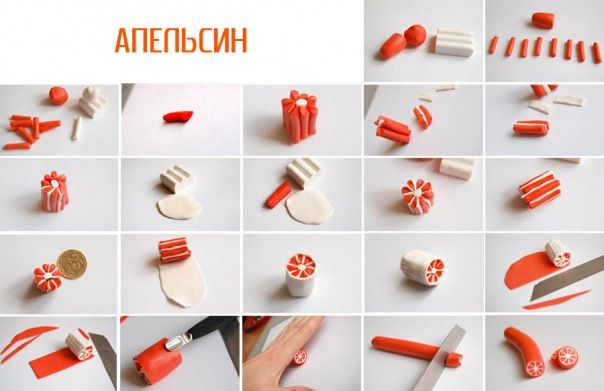 Orange en pâte polymère