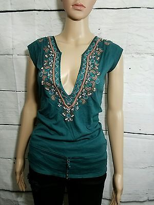 Ezra Fitch Abercrombie Long Beaded Embroidered Cap Sleeve Boho Top Green MED