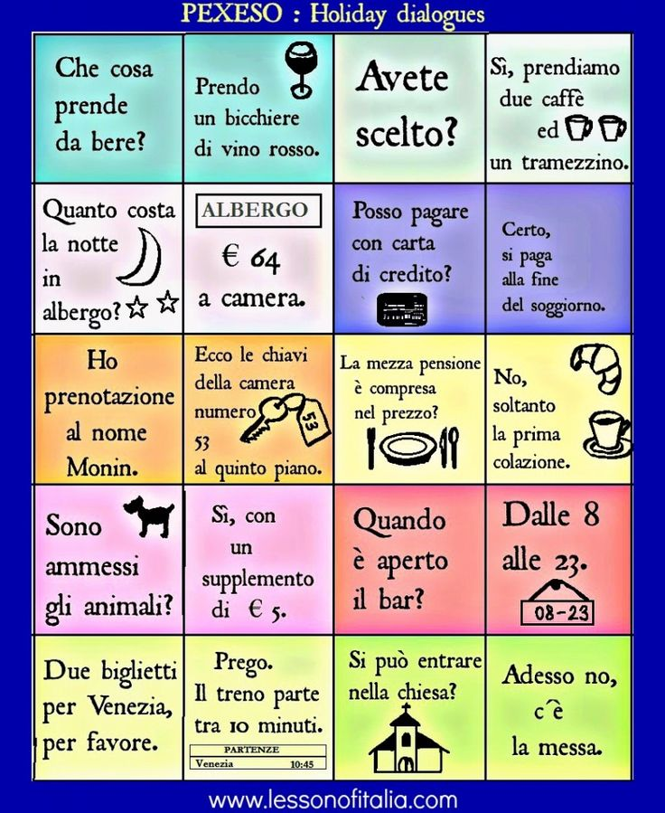 Play PEXESO language game : Holiday dialogues in Italian
