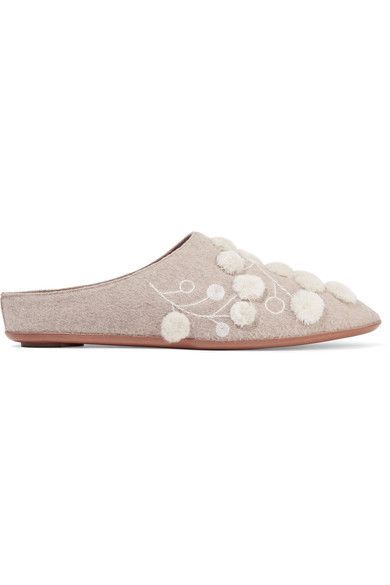 The Row - Bea Embellished Cashmere Slippers - Taupe - IT37
