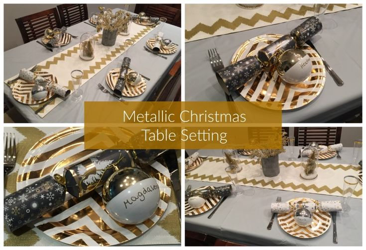 Metallic Christmas Table Setting #littlepartylove #decorations #partyideas #metallic #metallicchristmas #christmas