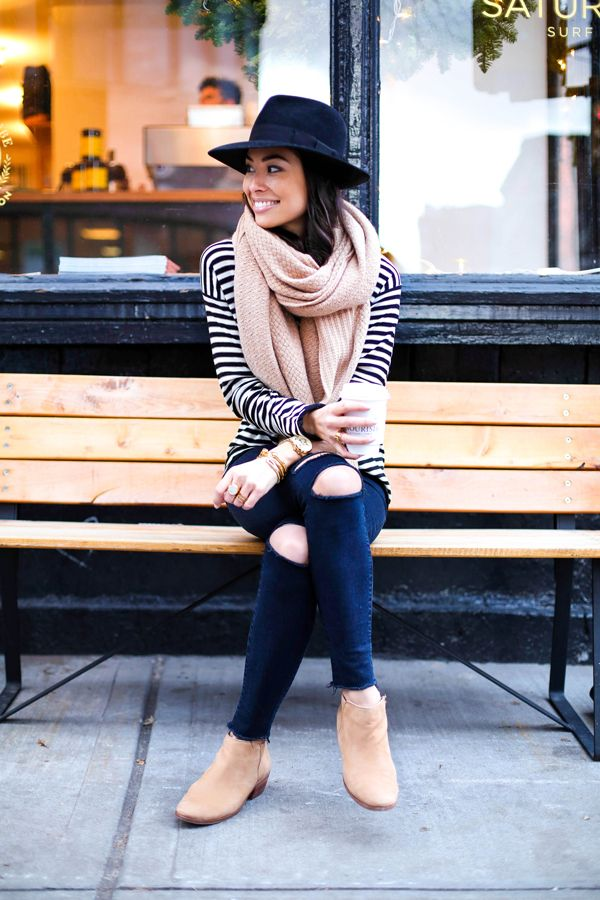 Stripes, jeans and hat