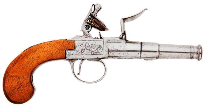 English Screw-Barrel Flintlock Pocket Pistol, 1780.