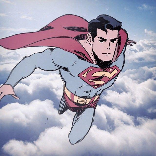 "Chris Palmer- Superman good reference pose for Sky Guardian""Lazy BG. #superman"""