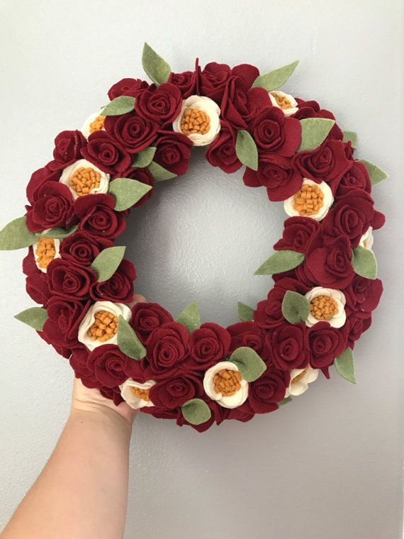 Christmas felt flower wreath