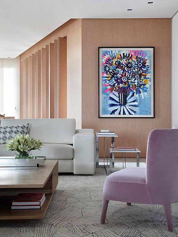 sala de estar em cores leves