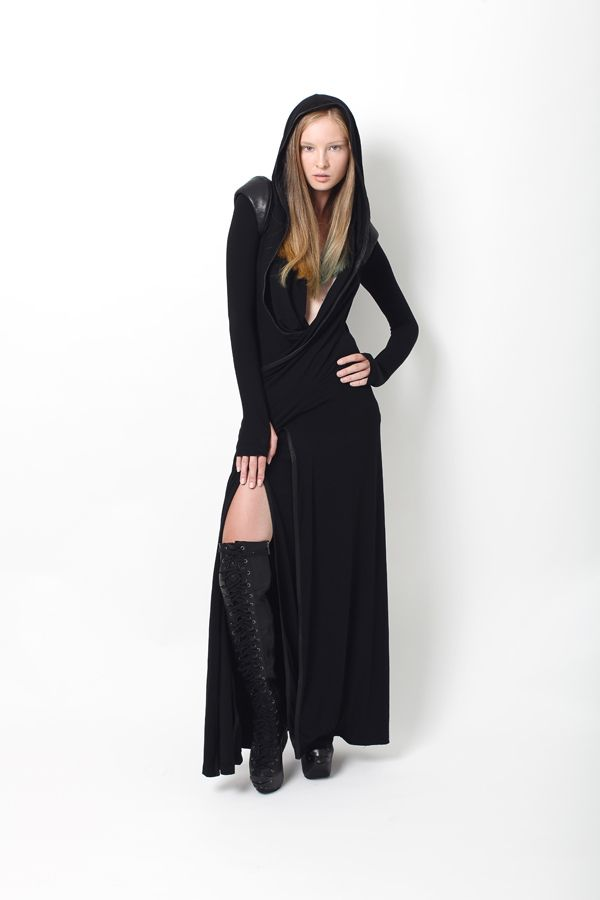 Black Hooded Leather Detail Wrap Drape Laced High Slit Maxi Dress @ Gelareh Designs $950
